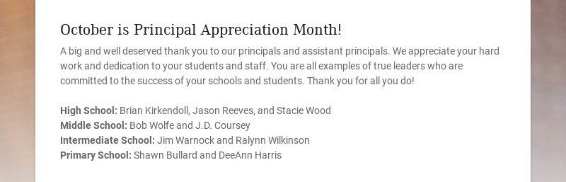 October is Principal Appreciation Month! A big and well deserved thank you to our principals and...