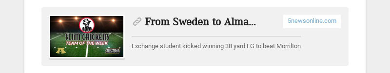 From Sweden to Alma, Olsson's Journey Comes Full Circle 5newsonline.com Exchange student kicked...