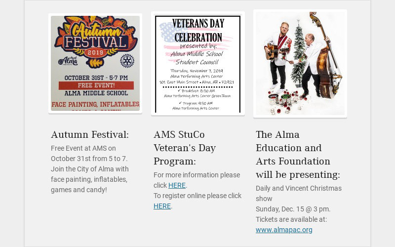 Autumn Festival: Free Event at AMS on October 31st from 5 to 7. Join the City of Alma with face...
