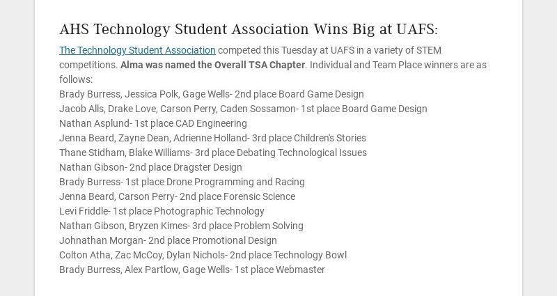AHS Technology Student Association Wins Big at UAFS: The Technology Student Association competed...