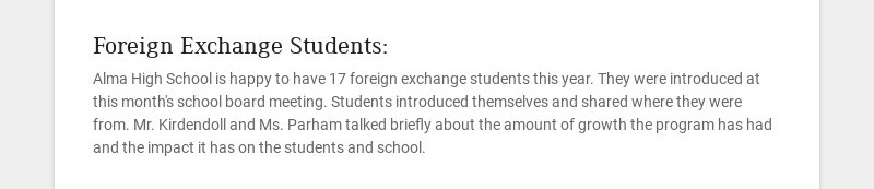 Foreign Exchange Students: Alma High School is happy to have 17 foreign exchange students this...