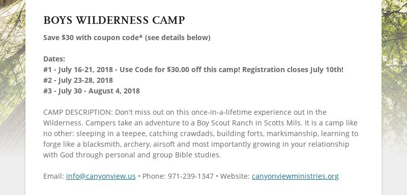 BOYS WILDERNESS CAMP