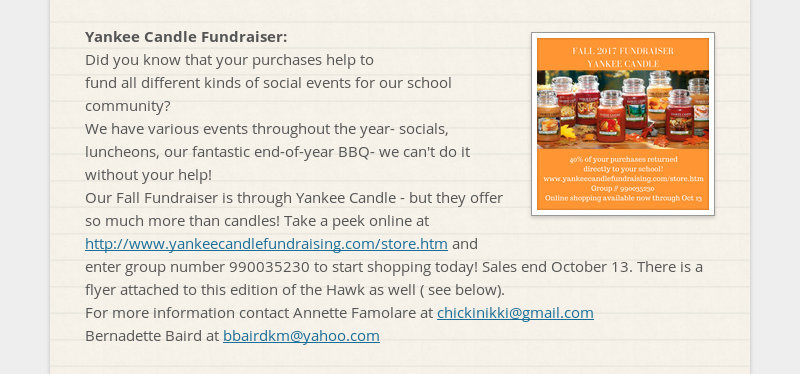 Yankee Candle Fundraiser: Did you know that your purchases help to fund all different kinds of...