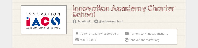 Innovation Academy Charter School Facebook @iacharterschool 72 Tyng Road, Tyngsborough, MA, United...
