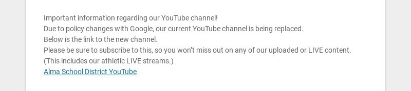Important information regarding our YouTube channel! Due to policy changes with Google, our...