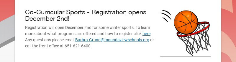 Co-Curricular Sports - Registration opens December 2nd! Registration will open December 2nd for...