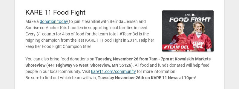 KARE 11 Food Fight Make a donation today to join #TeamBel with Belinda Jensen and Sunrise co-...