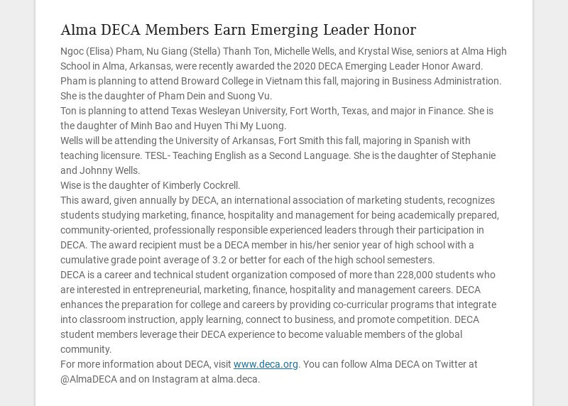 Alma DECA Members Earn Emerging Leader Honor