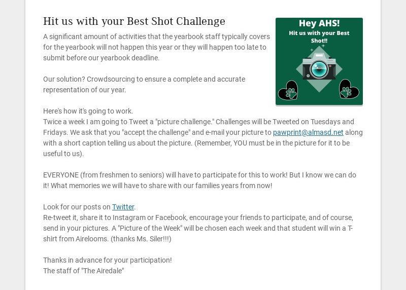 Hit us with your Best Shot Challenge