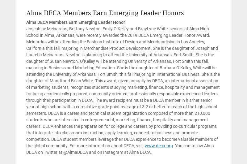Alma DECA Members Earn Emerging Leader Honors Alma DECA Members Earn Emerging Leader Honor...