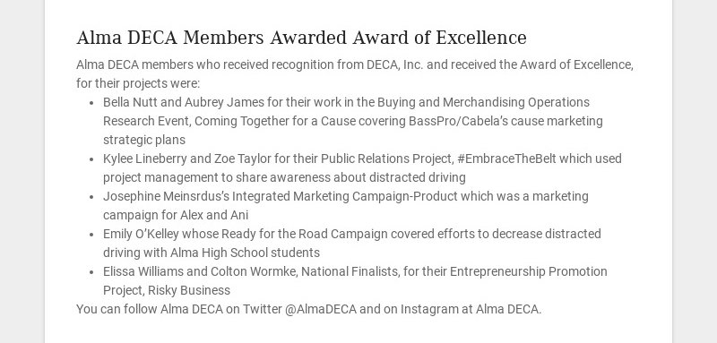 Alma DECA Members Awarded Award of Excellence Alma DECA members who received recognition from...