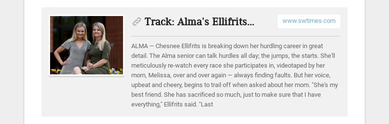 Track: Alma's Ellifrits continuing career with support of mother