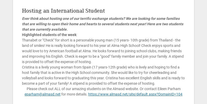 Hosting an International Student