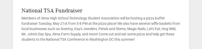National TSA Fundraiser