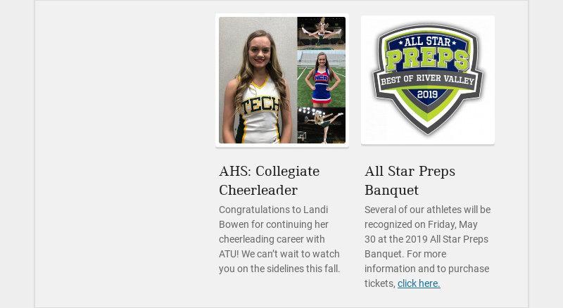 AHS: Collegiate Cheerleader Congratulations to Landi Bowen for continuing her cheerleading career...