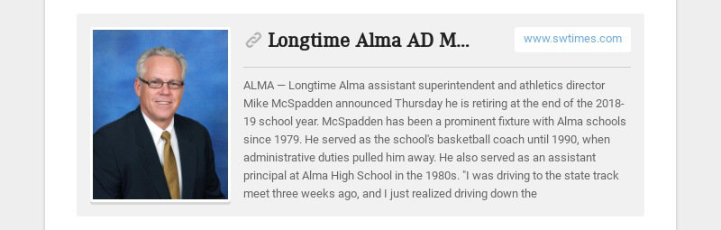 Longtime Alma AD McSpadden to retire www.swtimes.com ALMA — Longtime Alma assistant...