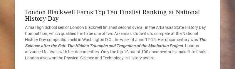 London Blackwell Earns Top Ten Finalist Ranking at National History Day
