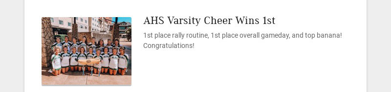 AHS Varsity Cheer Wins 1st