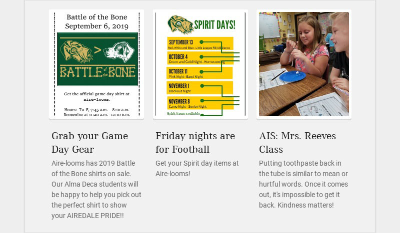 Grab your Game Day Gear Aire-looms has 2019 Battle of the Bone shirts on sale. Our Alma Deca...