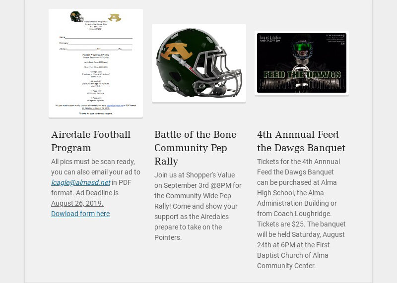 Airedale Football Program All pics must be scan ready, you can also email your ad to...