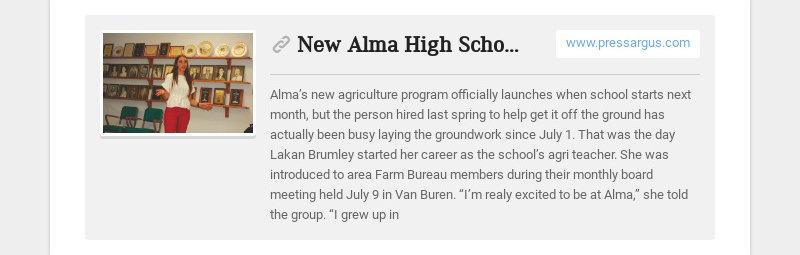 New Alma High School agri teacher off to fast start www.pressargus.com Alma's new agriculture...