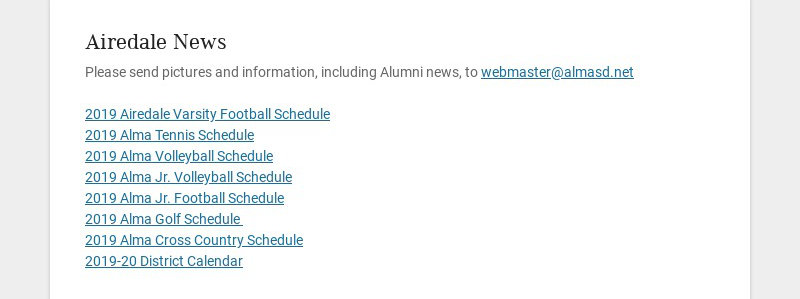 Airedale News Please send pictures and information, including Alumni news, to...