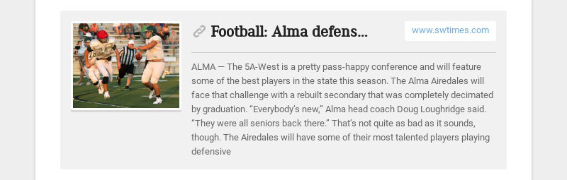 Football: Alma defense young, but hungry