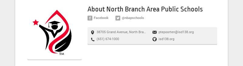 About North Branch Area Public Schools Facebook @nbapschools 38705 Grand Avenue, North Branch,...