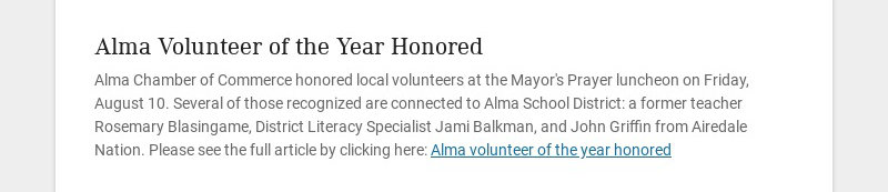 Alma Volunteer of the Year Honored