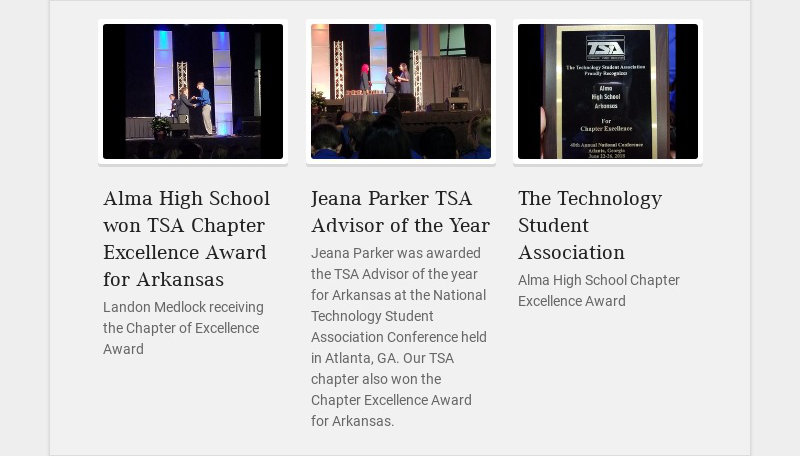 Alma High School won TSA Chapter Excellence Award for Arkansas