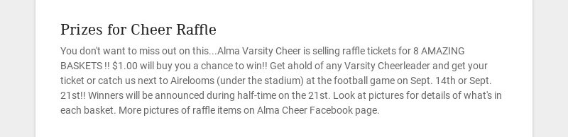 Prizes for Cheer Raffle