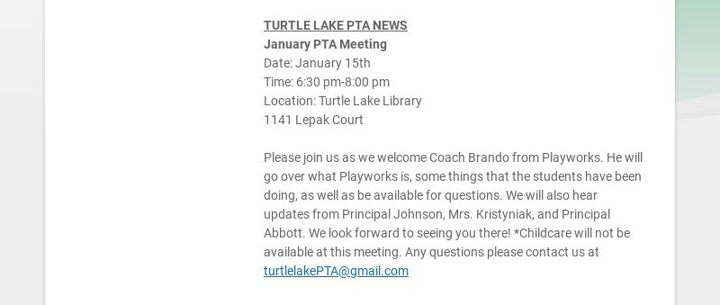 PTA NEWS ISLAND LAKE PTA NEWS The Island Lake Directory has been updated! This year,...