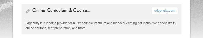 Online Curriculum & Coursework for K–12 Education | Edgenuity Inc | Edgenuity Inc.edgenuity.com...