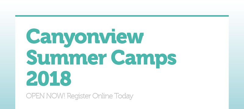 Canyonview Summer Camps 2018
