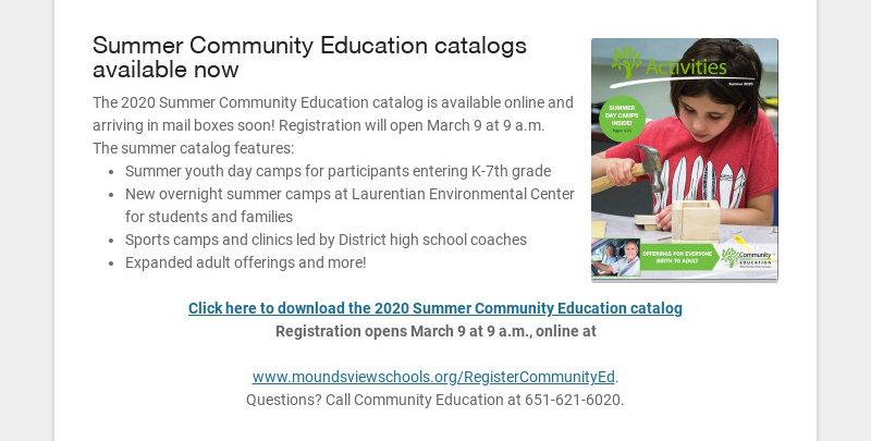 Summer Community Education catalogs available now The 2020 Summer Community Education catalog is...