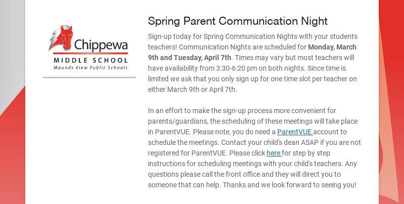 Spring Parent Communication Night Sign-up today for Spring Communication Nights with your...
