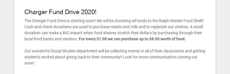 Charger Fund Drive 2020! The Charger Fund Drive is starting soon! We will be donating all funds...