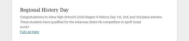 Regional History Day Congratulations to Alma High School's 2020 Region 9 History Day 1st, 2nd,...