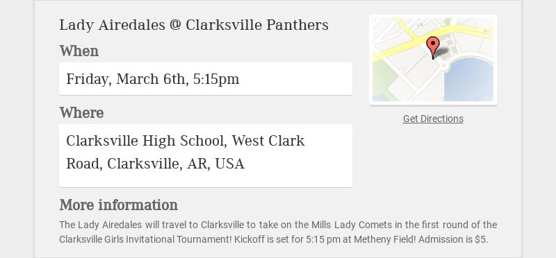 Lady Airedales @ Clarksville Panthers When Friday, March 6th, 5:15pm Where Clarksville High...