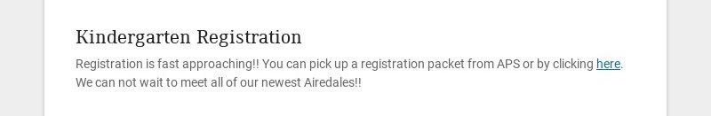 Kindergarten Registration Registration is fast approaching!! You can pick up a registration...