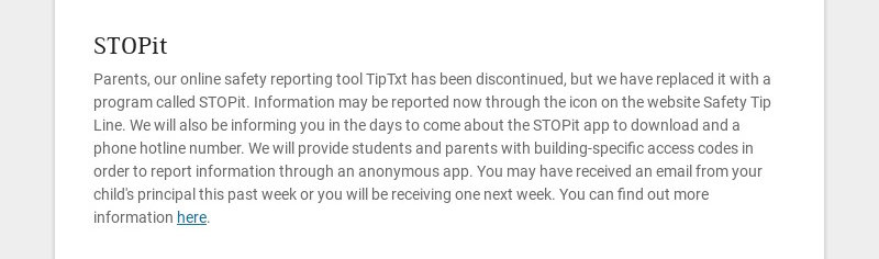 STOPit Parents, our online safety reporting tool TipTxt has been discontinued, but we have...