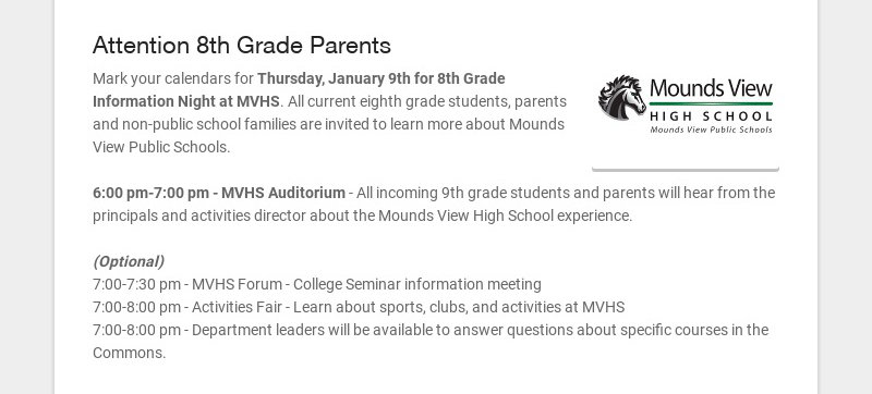 Attention 8th Grade Parents Mark your calendars for Thursday, January 9th for 8th Grade...
