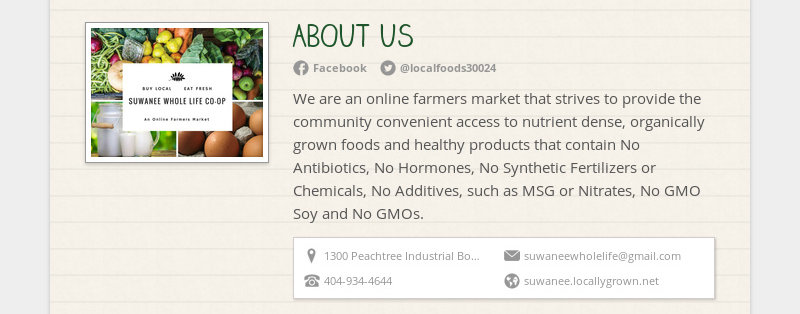 ABOUT US Facebook @localfoods30024 We are an online farmers market that strives to provide the...