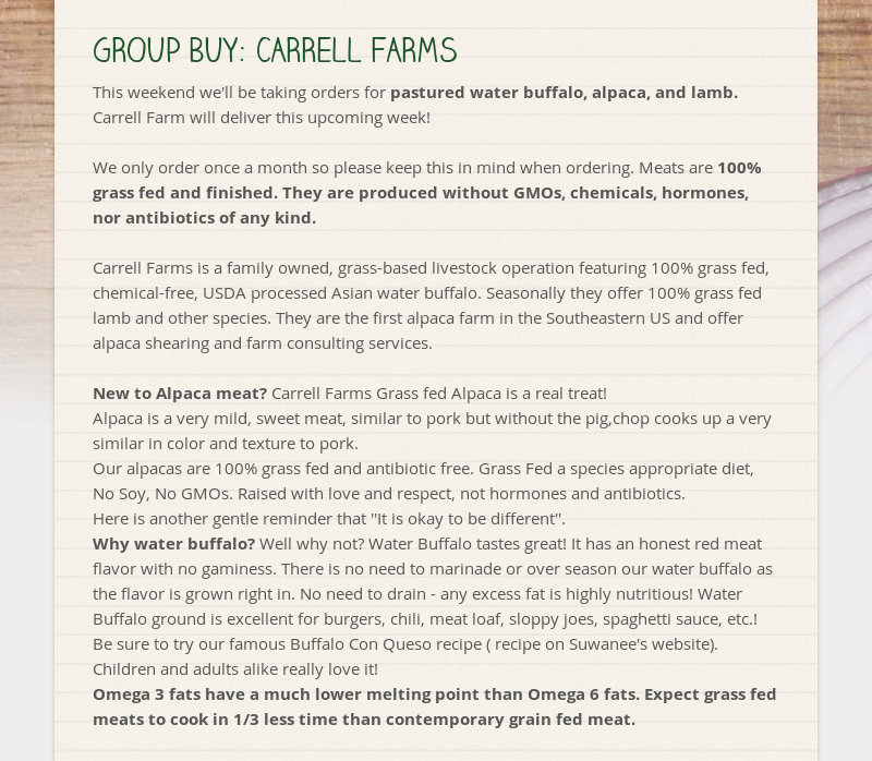 GROUP BUY: CARRELL FARMS This weekend we'll be taking orders for pastured water buffalo, alpaca, and...
