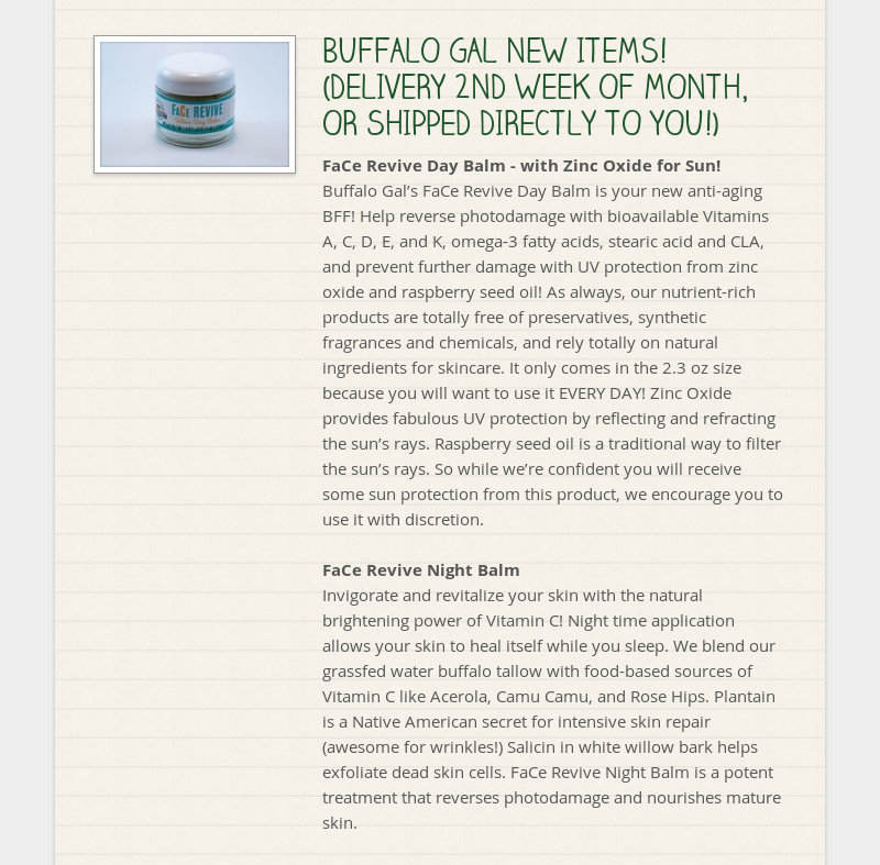 BUFFALO GAL NEW ITEMS! (DELIVERY 2ND WEEK OF MONTH, OR SHIPPED DIRECTLY TO YOU!) FaCe Revive Day...